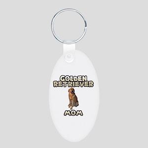 Golden Retriever Mom Aluminum Oval Keychain