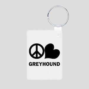 Peace Love Greyhound Aluminum Photo Keychain