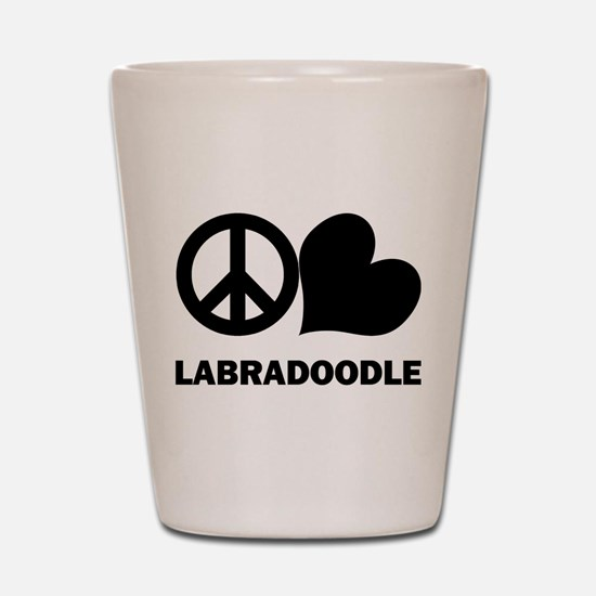 Peace Love Labradoodle Shot Glass