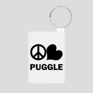 Peace Love Puggle Aluminum Photo Keychain