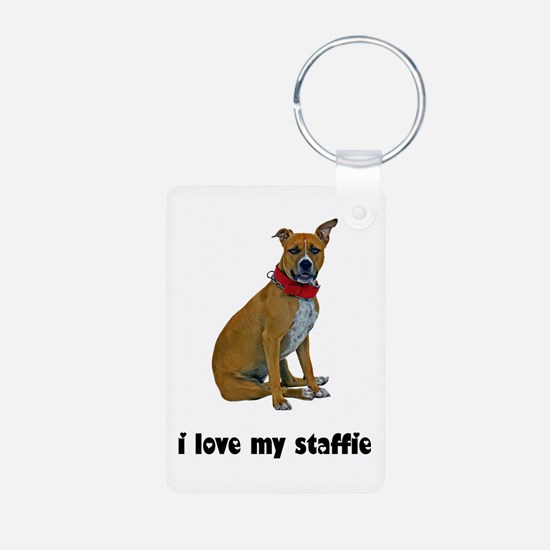 I Love My Staffie Keychains