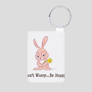 Be Hoppy Bunny Aluminum Photo Keychain