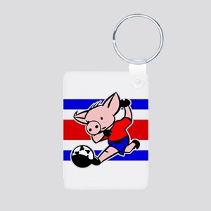 Costa Rica Soccer Pigs Aluminum Photo Keychain
