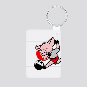 Japan Soccer Pigs Aluminum Photo Keychain
