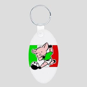 Mexico Soccer Pigs Aluminum Oval Keychain