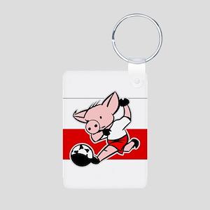 Poland Soccer Pigs Aluminum Photo Keychain