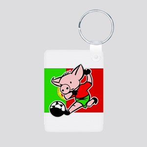 Portugal Soccer Pigs Aluminum Photo Keychain