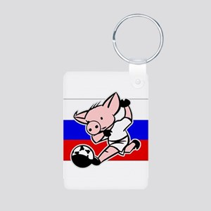 Russia Soccer Pigs Aluminum Photo Keychain