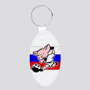 Russia Soccer Pigs Aluminum Oval Keychain