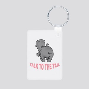 Hippo Talk To The Tail Aluminum Photo Keychain