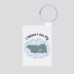 Flying Hippo Aluminum Photo Keychain