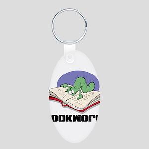 Bookworm Book Lovers Aluminum Oval Keychain