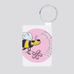 Save The Bees Aluminum Photo Keychain