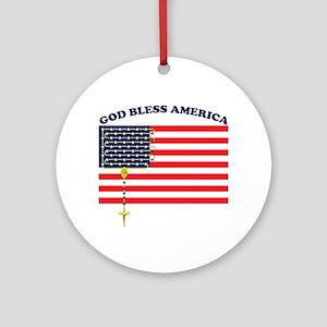 God Bless America Ornament (Round)
