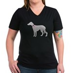 Greyhound Breast Cancer Supp Women's V-Neck Dark T