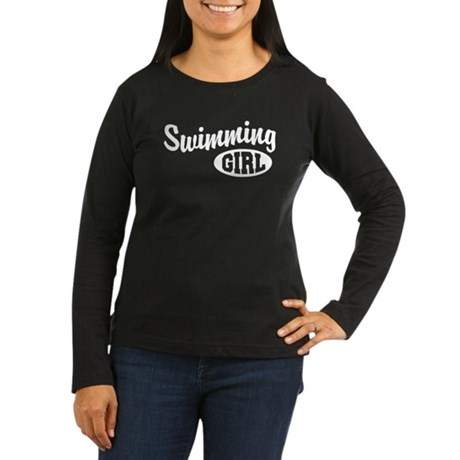 Swimming Girl Women's Long Sleeve Dark T-Shirt