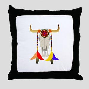 Bull Skull Throw Pillow