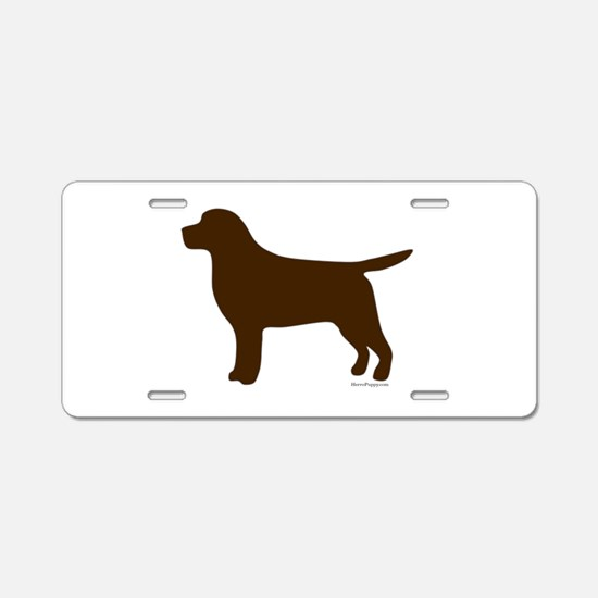 Chocolate Lab Silhouette Aluminum License Plate