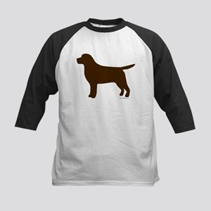 Chocolate Lab Silhouette Kids Baseball Jersey