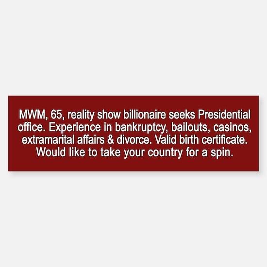 Trump Personal Ad - Sticker (Bumper)