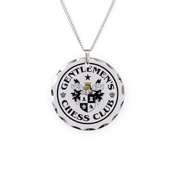 Gentlemen's Chess Club Necklace Circle Charm