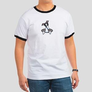 White Black Greyhound Ringer T