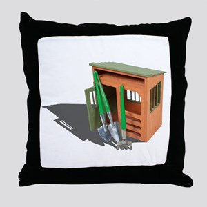 Garden Shed and Tools Throw Pillow