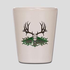 Bow hunting,deer skull Shot Glass