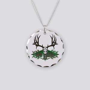 Bow hunting,deer skull Necklace Circle Charm