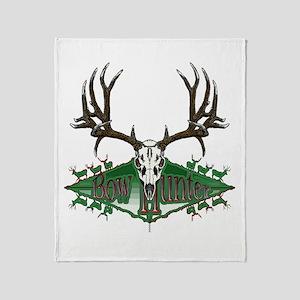 Bow hunter,deer skull Throw Blanket