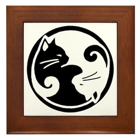 Yin Yang Cats Framed Tile/Trivet