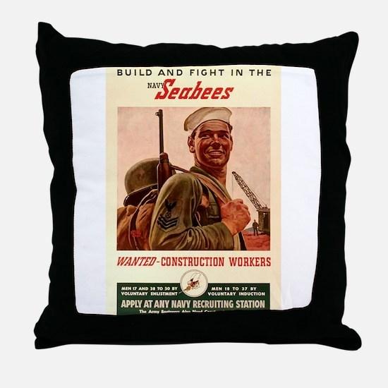 World War 2 Seabees Throw Pillow
