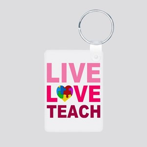 Live Love Teach Autism Aluminum Photo Keychain
