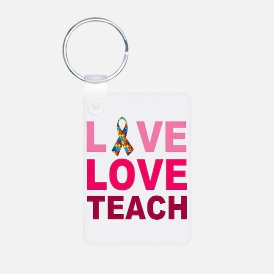 Live Love Teach Autism Aluminum Photo Keychain