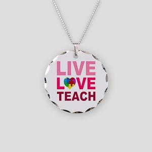 Live Love Teach Autism Necklace Circle Charm