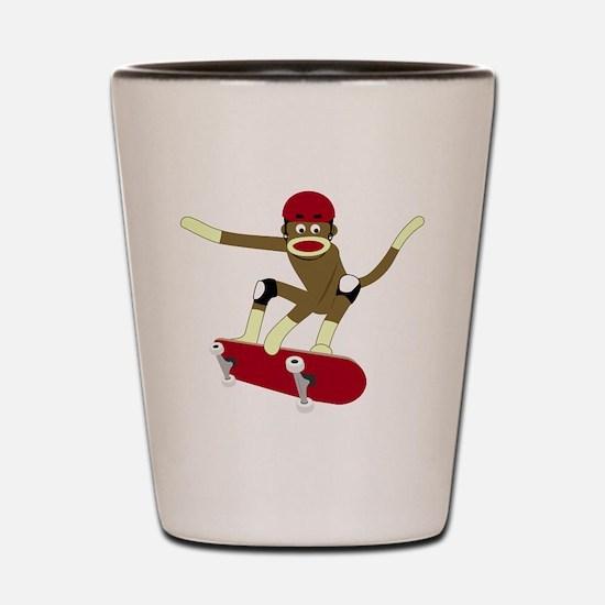Sock Monkey Skateboarder Shot Glass