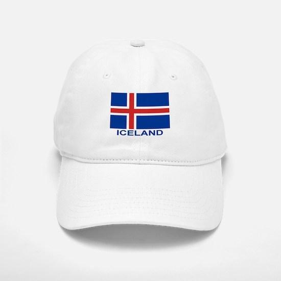 Icelandic Flag (labeled) Baseball Baseball Cap