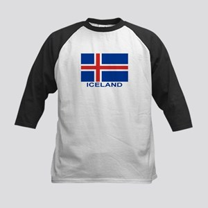 Icelandic Flag (labeled) Kids Baseball Jersey