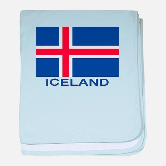 Icelandic Flag (labeled) baby blanket