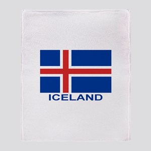Icelandic Flag (labeled) Throw Blanket