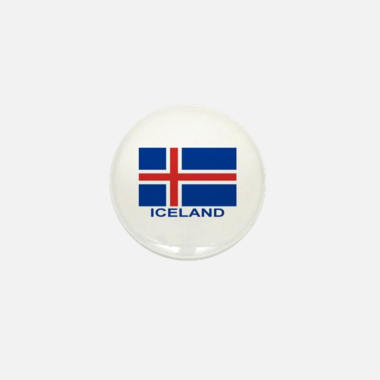 Icelandic Flag (labeled) Mini Button