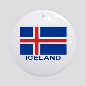 Icelandic Flag (labeled) Ornament (Round)