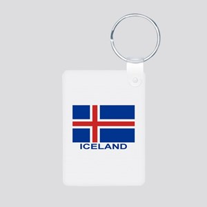 Icelandic Flag (labeled) Aluminum Photo Keychain
