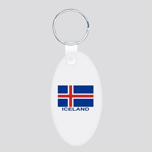 Icelandic Flag (labeled) Aluminum Oval Keychain