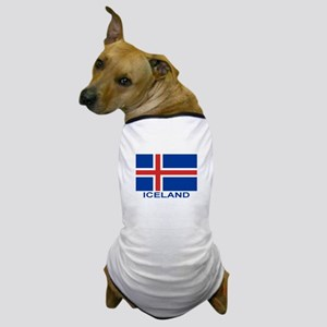 Icelandic Flag (labeled) Dog T-Shirt