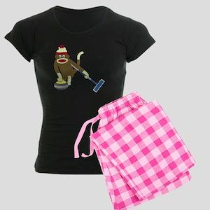 Sock Monkey Olympics Curling Women's Dark Pajamas