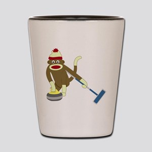 Sock Monkey Olympics Curling Shot Glass