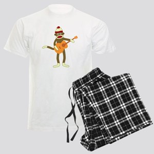Sock Monkey Acoustic Guitar Men's Light Pajamas