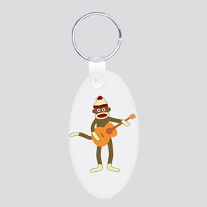 Sock Monkey Acoustic Guitar Aluminum Oval Keychain