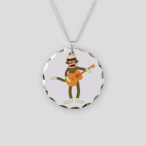 Sock Monkey Acoustic Guitar Necklace Circle Charm